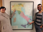 Piedmontese speaker Annalisa Castelli and Santonofrese speaker (and ELAT contributor) Paolo Frascà point to their hometowns - Solero and Sant'Onofrio - on a dialect map of Italy. November 20, 2015.